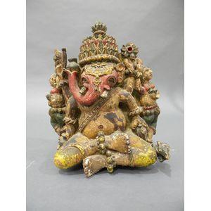 Polychrome Wood Carving of Ganesha