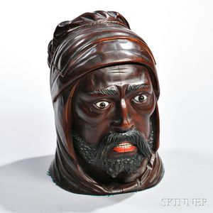 Carved and Ebonized Wood Blackamoor Tobacco Jar