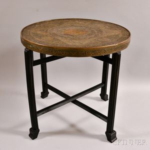 Brass Tray Table and Wood Folding Stand