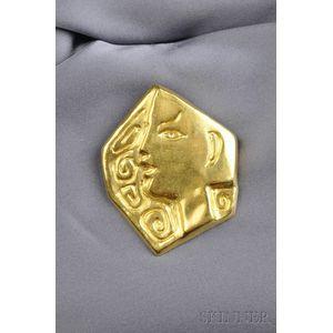 "Artist-designed 23kt Gold Pendant/Brooch ""Le Profil,"" Jean Cocteau"