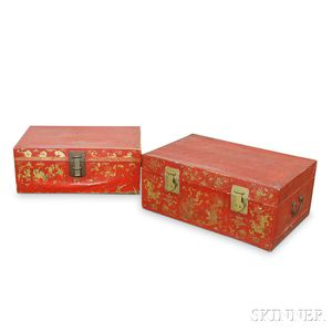 Two Chinese Red Leather-bound Floral-decorated Boxes