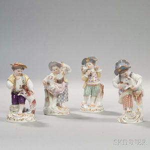 Four Meissen Porcelain Figures of Children