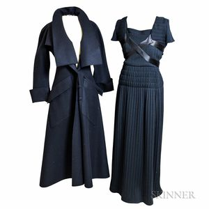 Karl Lagerfeld Silk Jacket, Chanel Boutique Knit Dress, and Fendi Wool Coat