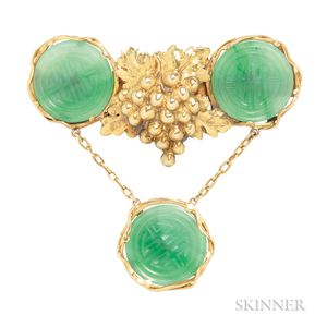 Gold and Jade Brooch