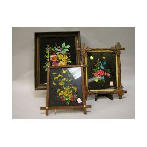 Three Walnut Framed Floral Tinsel Pictures.