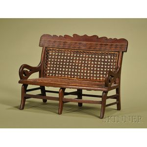 American Miniature Victorian Parquetry-inlaid Walnut and Caned Seat