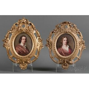 Framed Pair of Enamel Portraits