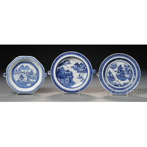 Three Blue and White Hot Water Porcelain Warming Dishes