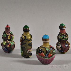 Four Polychrome Overlay Peking Glass Snuff Bottles