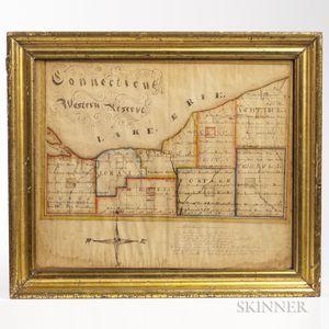 "Schoolboy Drawn ""Connecticut Reserve"" Watercolor Map"