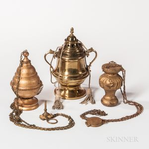 One Brass and Two Wood Odd Fellows Censers