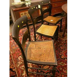 Seven Paint Decorated Caned and Rush Seat Fancy Chairs