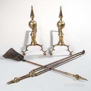 Pair of Brass and Iron Steeple-top Andirons and Matching Tools