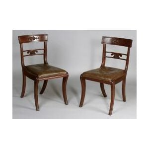 Set of Nine Regency Carved Mahogany Side Chairs