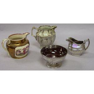 English Silver Lustre Jug, Bowl and Creamer, and a Copper Lustre Jug.