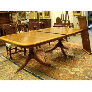 George III Style Inlaid Mahogany and Mahogany Veneer Double-pedestal Dining Table