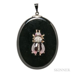 Antique Silver and Onyx Locket