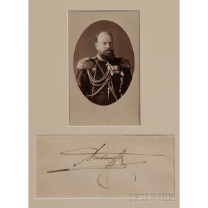 Cabinet Photograph of Tsar Alexander III and His Signature
