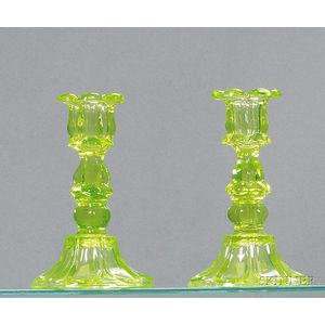 Pair of Light Apple Green Petal and Loop Glass Candlesticks