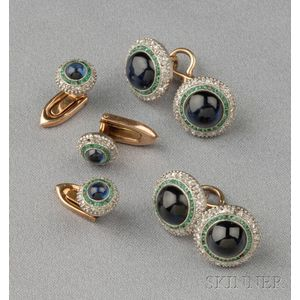 Art Deco Sapphire, Emerald, and Diamond Dress Set, Austria