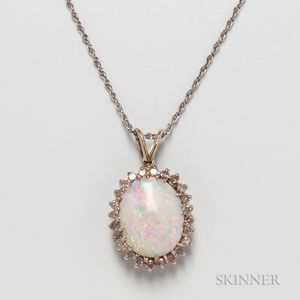 14kt Gold, Opal, and Diamond Pendant and 14kt White Gold Chain