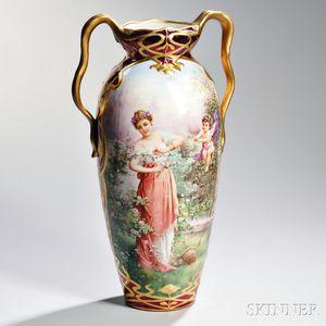 Dresden Porcelain Vase Depicting a Maiden in a Garden