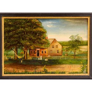 American School, 20th Century    Farmhouse with Children Playing