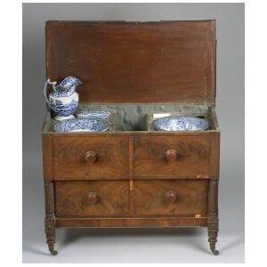 Classical Mahogany Veneer Washstand with Faux Marble Painted Interior