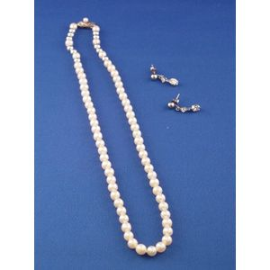 Pair of 14kt White Gold and Diamond Earpendants and a Pearl Necklace