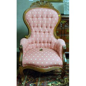 Victorian Upholstered Carved Walnut Parlor Chair.