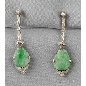 Art Deco Carved Jade and Diamond Earpendants