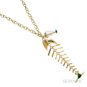 Whimsical 18kt Gold, Enamel, and Chrysoprase Fish Skeleton Pendant