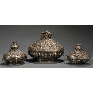 Three Egyptian Silver Lidded Bowls