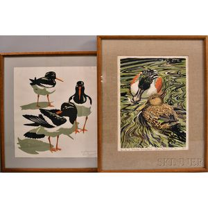 John Tennent (British, b. 1926)      Two Framed Lithographs: Oystercatchers