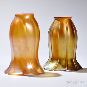 Quezal Art Glass Shade and Another Similar Shade