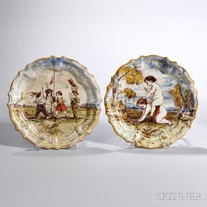 Two Wedgwood Emile Lessore Decorated Queen