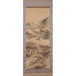 Hanging Scroll Depicting a Flock of Geese