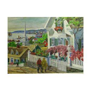 New England Coastal Village Scene, Signed L.Nieder, Oil on Art Board, Framed.