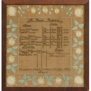 Webster Needlework Family Register and Four Family Related Items