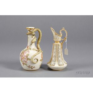Two Worcester Porcelain Pitchers