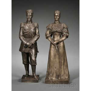 Pair of Silvered Bronze Figures Depicting Nicholas II and Alexandra