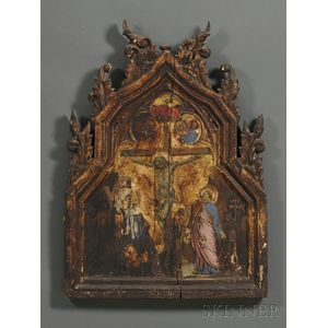 Polychrome and Gilt Carved Panel Depicting the Crucifixion