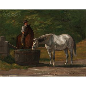Thomas Harris Robinson (American, 1835-1888)      At Watering Trough