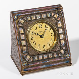 Tiffany Furnaces Enameled Desk Clock