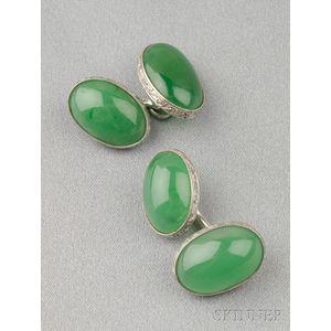 Art Deco Platinum and Jadeite Cuff Links, Tiffany & Co.
