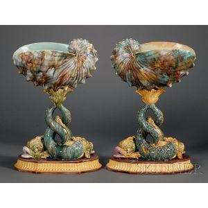 Two Wedgwood Majolica Shell Compotes