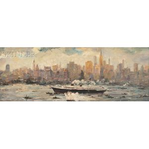 Attributed to Max Kuehne (American, 1880-1968)      View of Manhattan from the East River
