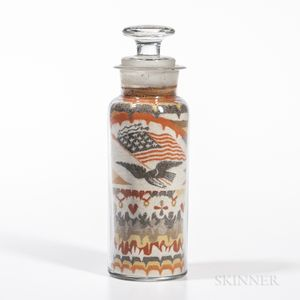 "Andrew Clemens Sand Bottle with Eagle, Flag, and ""1876"" Date"