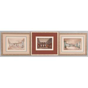 British School, 19th Century, Three Framed Etchings of Historic Interiors:, James Stephanoff (British, 1784-1874), Guard Chambers, Hamp