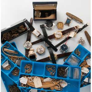 Thirteen Wristwatches, Chains, and Penknives from the Hamilton Watch Co. Service Center